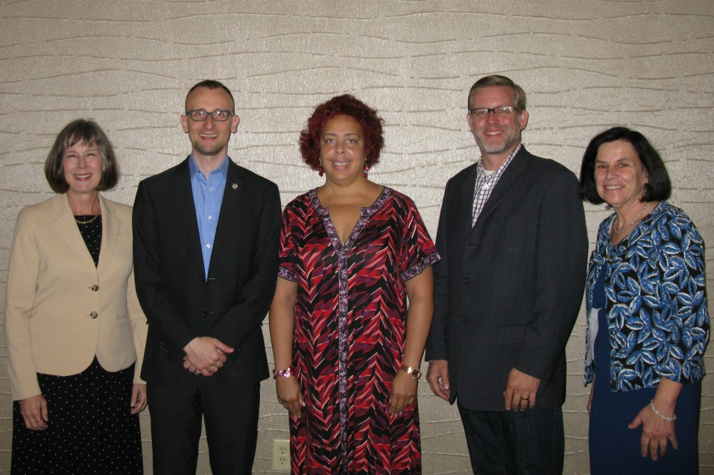 From left: Mary Chute, NJ State Librarian, Johannes Neuer, director of Digital Engagement at NY Public Library, Alison Bryant, president NJLTA, John Chrastka, executive director of EveryLibrary, Pat Tumulty, executive director NJLA.