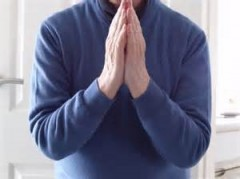 Photo of man giving thanks with closed hands