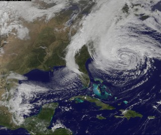 Aerial photo of Hurricane Sandy off the Atlantic Coast of the U.S.