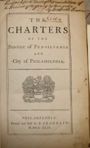 The Charters of the Province of Pensylvania and City of Philadelphia, 1742