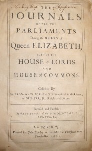 D'Ewe's Journals of the British Parliament, 1682