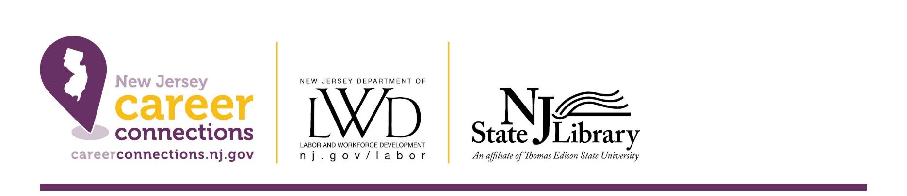 Career Connections, Labor and Workforce Development, and New Jersey State Library logos