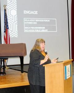 Erica Freudenberger, director , Red Hook Library, giving keynote address.