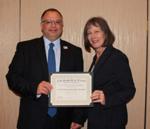 Christopher Carbone, director of the South Brunswick Library, State Librarian Mary Chute