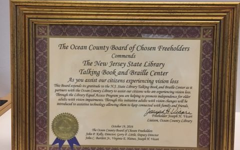 Commendation for TBBC from the Ocean County Board of Chosen Freeholders for the Library Equal Access Program