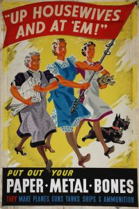a poster from the World War II era showing the importance of saving different products.