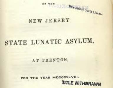 1849 New Jersey State Asylum Report