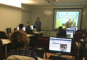 Librarian teaching an Introduction to Finding Grants class in the New Jersey State Library's Training Lab.